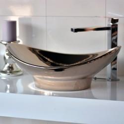 Луксозна мивка за баня в цвят платина