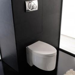 Бяла порцеланова тоалетна чиния - стенна 401 - Серия Зефиро